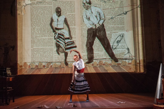 "A scene from William Kentridge's opera, Refuse the Hour"" with music composed by Philip Miller, at the Brooklyn Academy of Music Harvey Theater on October 201 2015. Performers: William Kentridge Dada Masilo_dancer- bald woman Ann Masina_Vocalist_large woman-opera Joanna Dudley_dark hair bowl cut woman Thato Motlhaolwa_actor_black man Philip Miller_on melodica Thobeka Thukane_on squeezebox Photo Credit: ©Stephanie Berger."